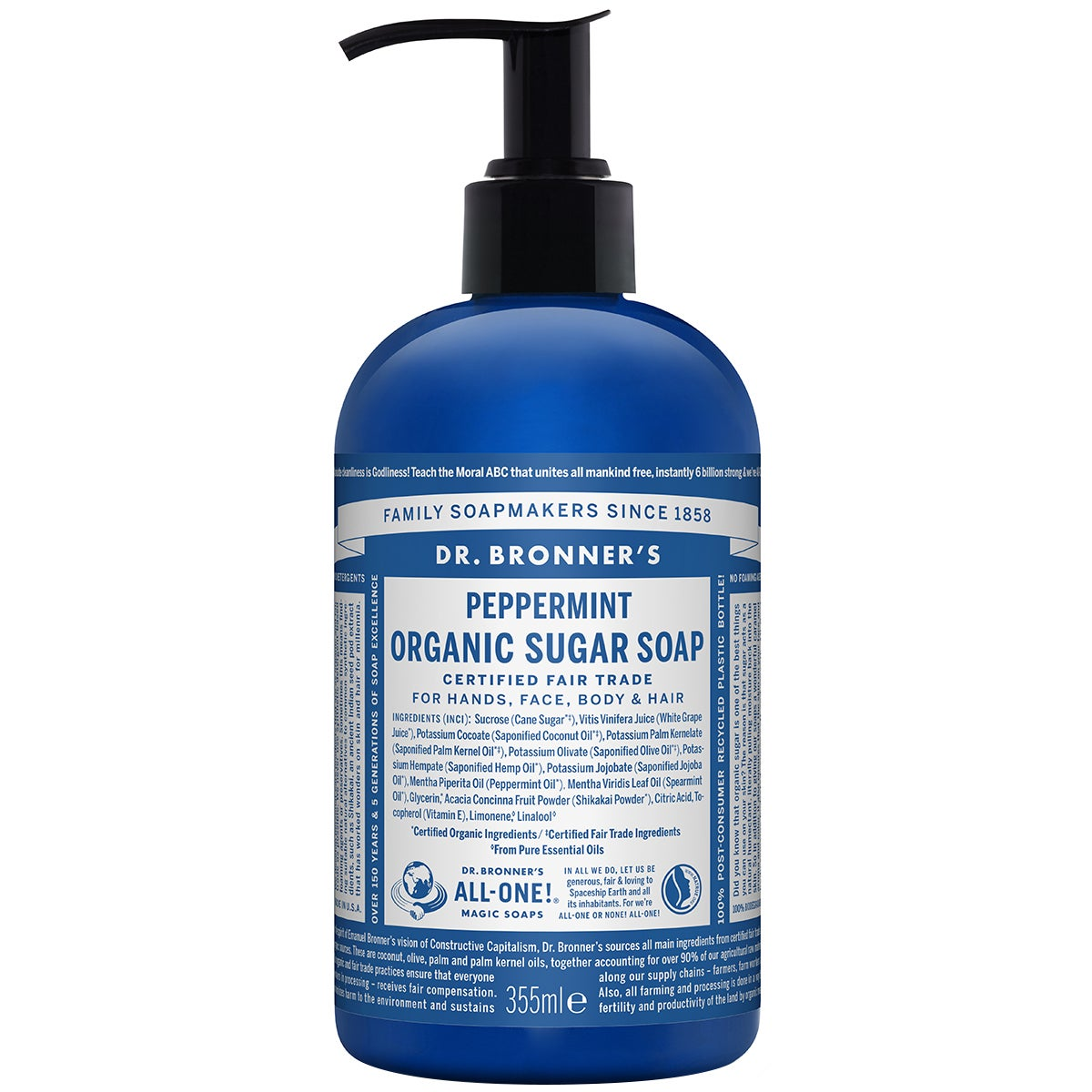 Dr. Bronner's Organic Hand & Body Shikakai Soap Spearmint Peppermint