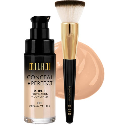 Milani Cosmetics Milani Conceal & Perfect Liquid Foundation Light Tan & Brush