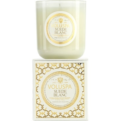 Voluspa Apricot & Coconut Wax Blend Perfumed Candle, Suede Blanc