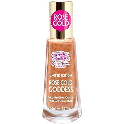 Cocoa Brown Shimmering Dry Body Oil Rose Gold Goddess